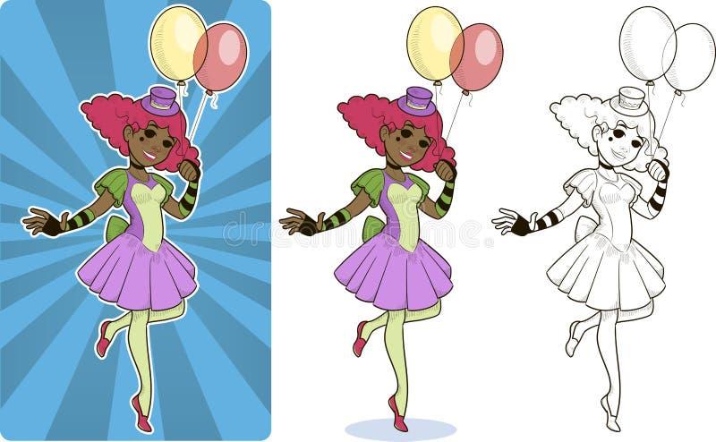 Caráter fêmea do circo do palhaço ilustração stock
