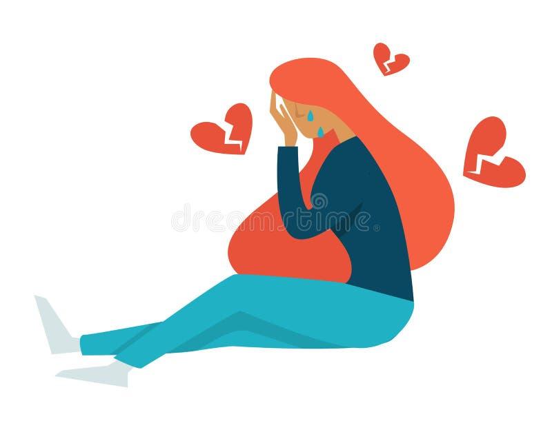 Caráter fêmea isolado puberdade de coração quebrado do problema do adolescente ilustração do vetor