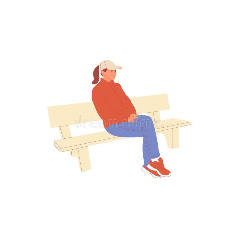 Caráter fêmea no equipamento ocasional que senta-se no banco de parque Isolado no branco Vetor colorido do estoque dos desenhos a ilustração royalty free