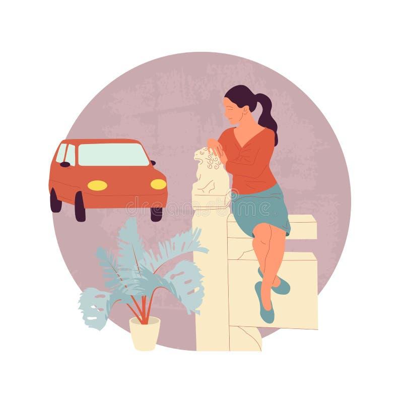Caráter fêmea no equipamento ocasional que senta-se na cerca chinesa com escultura do leão Carro vermelho no fundo ilustração stock
