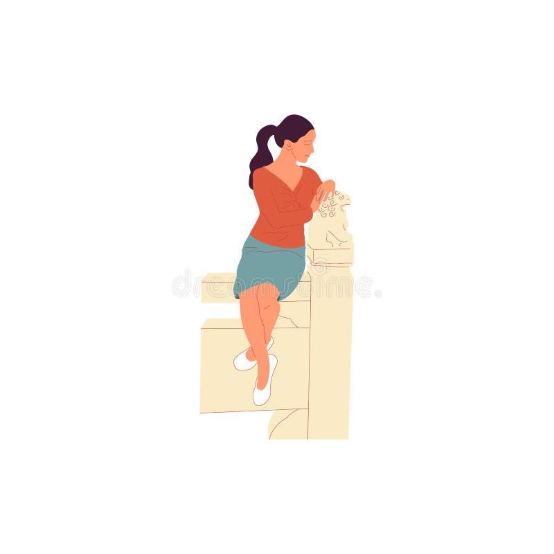 Caráter fêmea no equipamento ocasional que senta-se na cerca chinesa com escultura do leão Isolado no branco Desenhos animados co ilustração royalty free