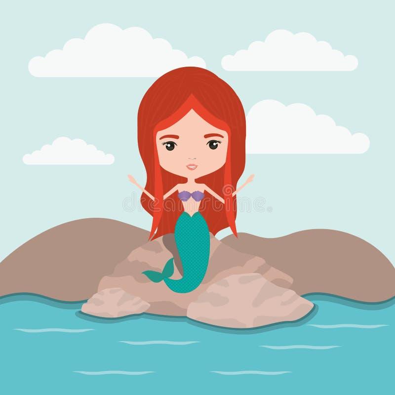 Caráter fantástico da sereia em um fundo da paisagem do mar da rocha ilustração do vetor