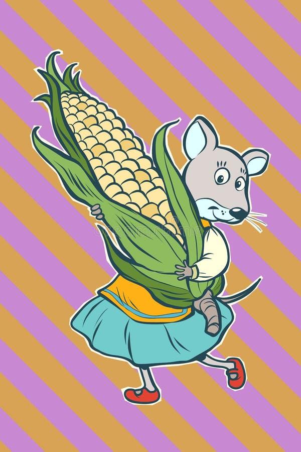 Caráter fantástico do rato com espiga de milho ilustração do vetor