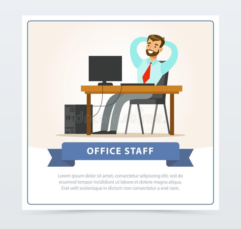 Caráter farpado feliz do homem que senta-se na tabela com computador e que guarda as mãos atrás de sua cabeça Programador do meni ilustração stock