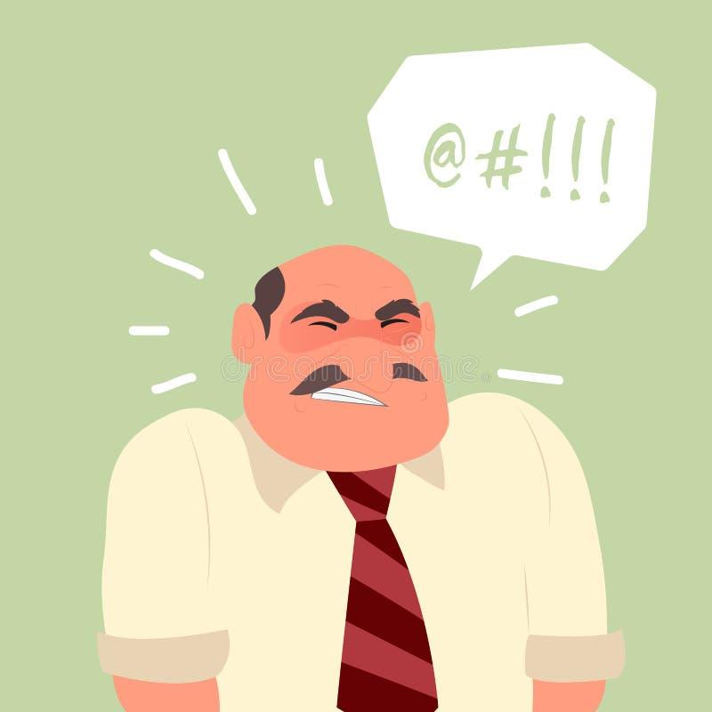 Caráter fatigante irritado ocupado do trabalhador de escritório ilustração stock