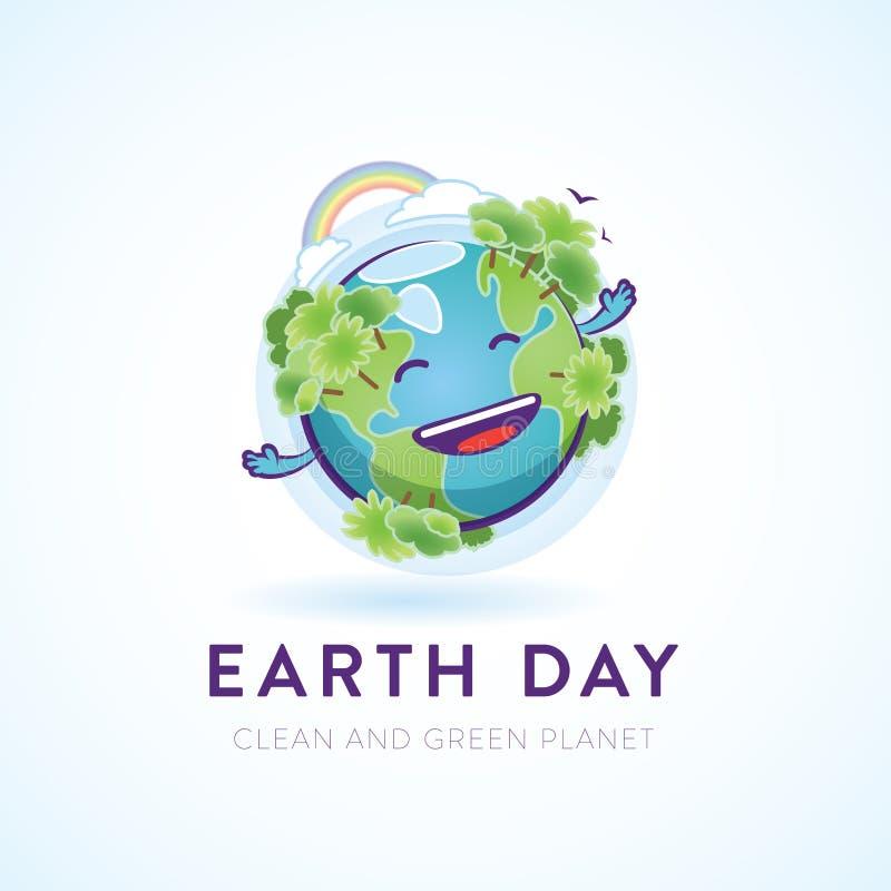 Caráter feliz bonito da terra para uma causa ambiental ilustração do vetor