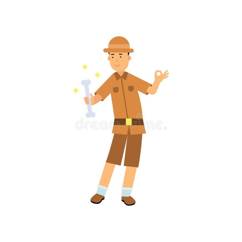 Caráter feliz do arqueólogo que está com o osso em sua mão ilustração royalty free