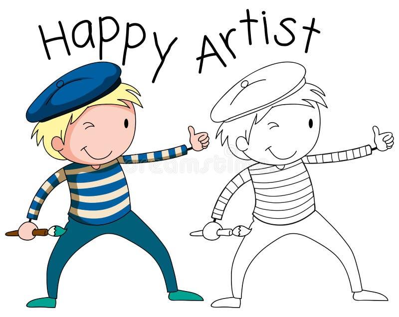 Caráter feliz do artista da garatuja ilustração do vetor
