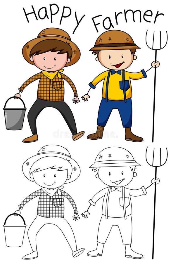 Caráter feliz do fazendeiro da garatuja ilustração stock
