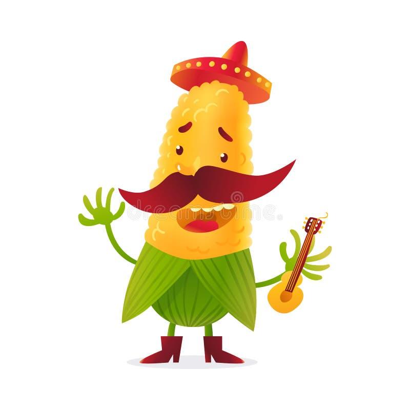 Caráter feliz do milho nas botas e na guitarra guardando mexicana ilustração stock