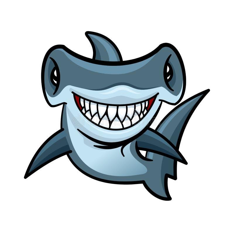 Caráter feliz do tubarão de hammerhead dos desenhos animados ilustração royalty free
