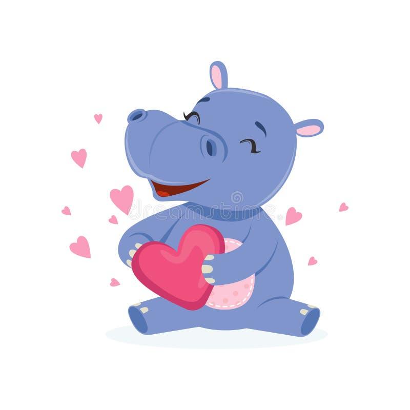 Caráter feliz engraçado do hipopótamo do bebê que senta-se no assoalho e que guarda o coração cor-de-rosa, vetor animal africano  ilustração stock