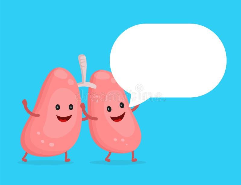 Caráter feliz saudável forte dos pulmões ilustração do vetor