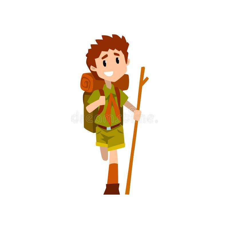 Caráter ferido do escuteiro de menino no uniforme com pé quebrado e vara de madeira, aventuras exteriores e atividade da sobreviv ilustração stock