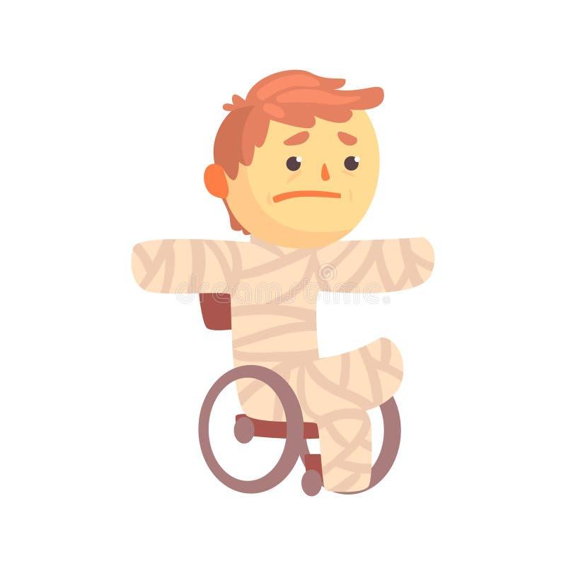 Caráter ferido do menino na gipsita que senta-se em uma cadeira de rodas que sofre da ilustração do vetor dos desenhos animados d ilustração royalty free