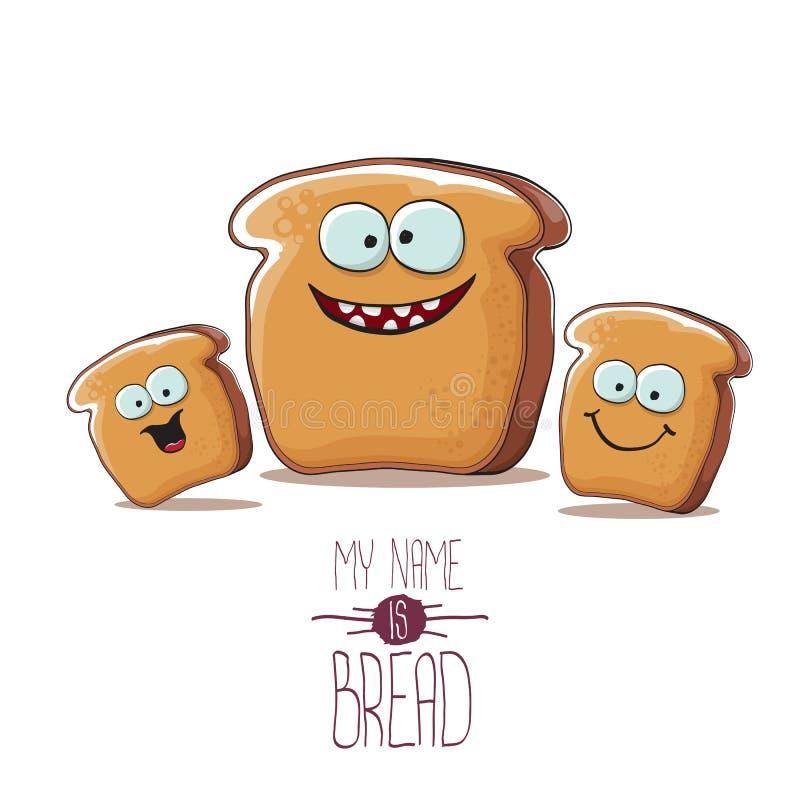 Caráter funky do pão dos desenhos animados do vetor com os amigos isolados no fundo branco grupo funky dos caráteres das crianças ilustração do vetor