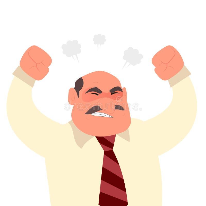 Caráter gritando irritado do homem do trabalhador de escritório ilustração do vetor