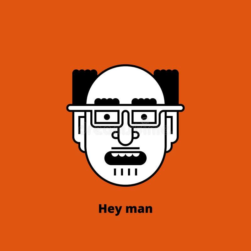 Caráter - homem calvo louco linhas finas Vetor ilustração do vetor