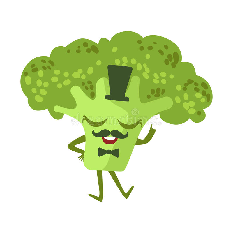 Caráter humanizado do alimento dos desenhos animados dos brócolis do cavalheiro Anime bonito ilustração do vetor