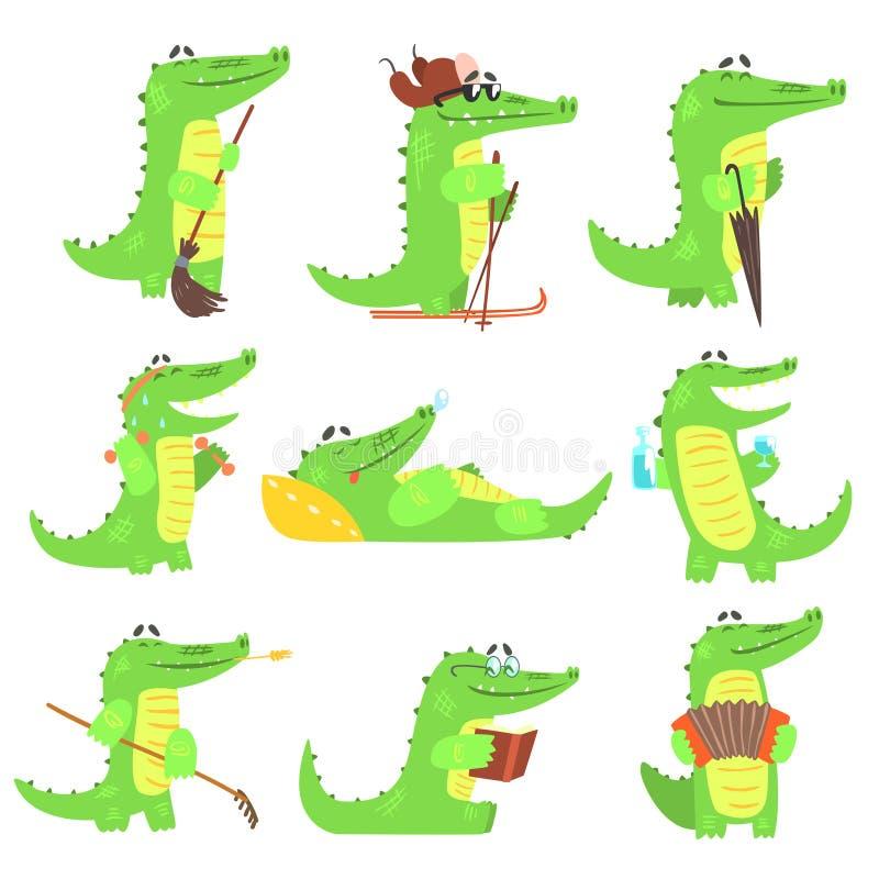 Caráter humanizado do crocodilo atividades de cada dia ajustadas das ilustrações ilustração royalty free