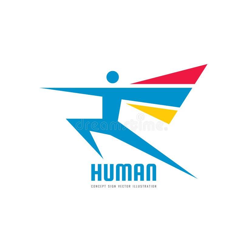 Caráter humano abstrato - ilustração do vetor do molde do logotipo do negócio do conceito Sinal criativo do homem running aptidão ilustração do vetor