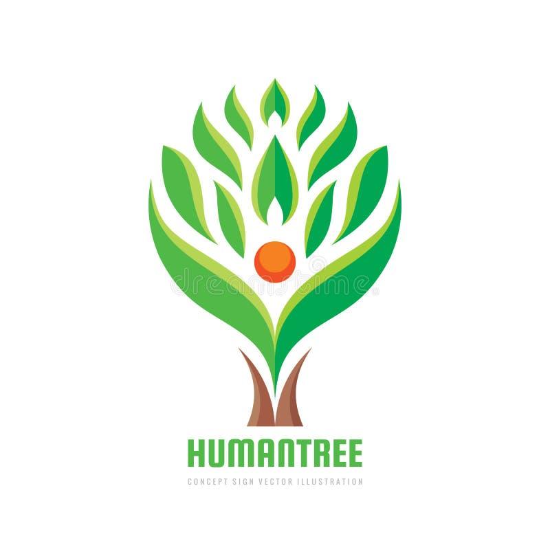Caráter humano da árvore - vector a ilustração do conceito do molde do logotipo Sinal da ecologia Símbolo da natureza de Eco Ícon ilustração stock