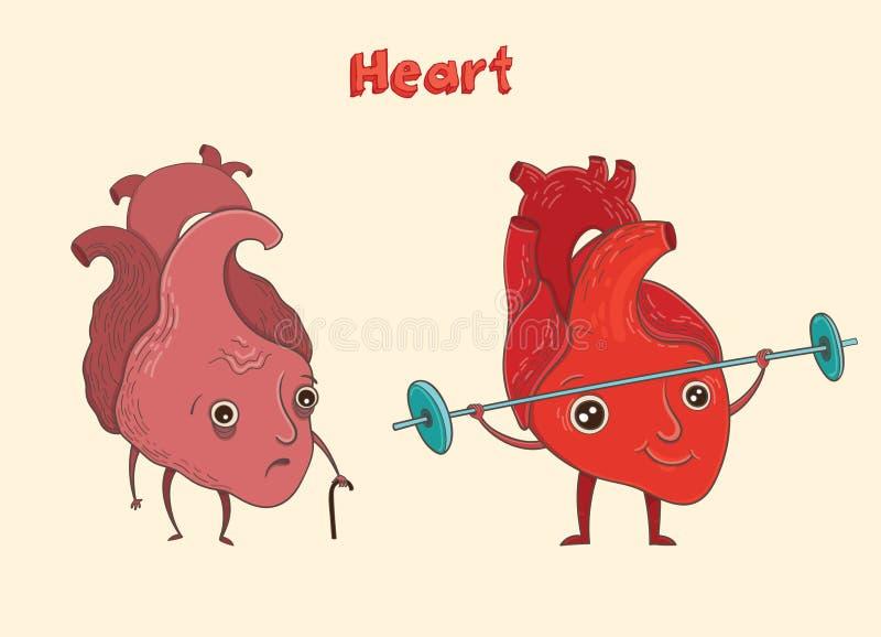 Caráter humano do coração dos desenhos animados Ilustração do vetor ilustração stock