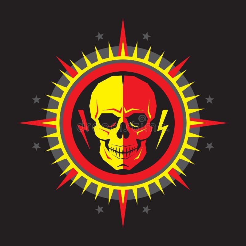 Caráter humano do crânio abstrato com relâmpagos na estrela com raios - ilustração criativa do vetor do crachá Sinal do vetor do  ilustração royalty free