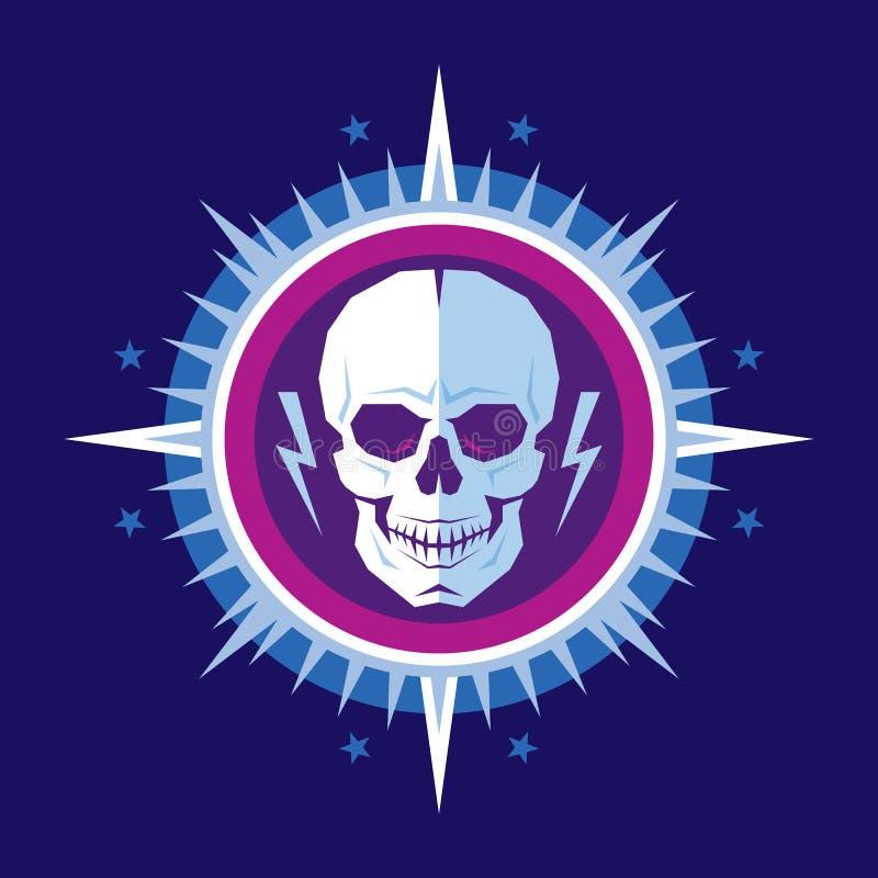Caráter humano do crânio abstrato com relâmpagos na estrela com raios - ilustração criativa do vetor do crachá Sinal do vetor do  ilustração stock