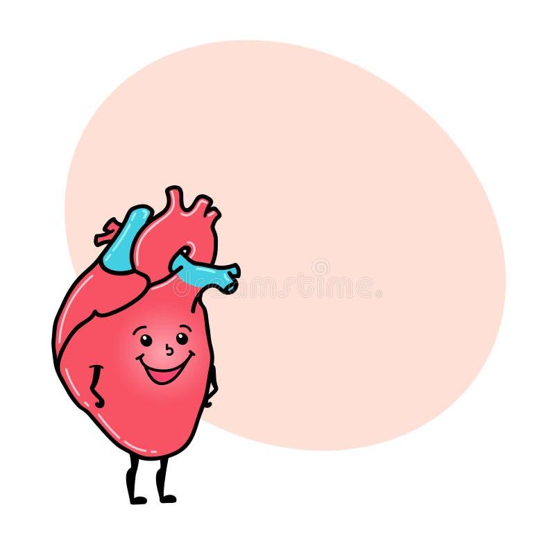 Caráter humano engraçado do coração com espaço para o texto ilustração royalty free