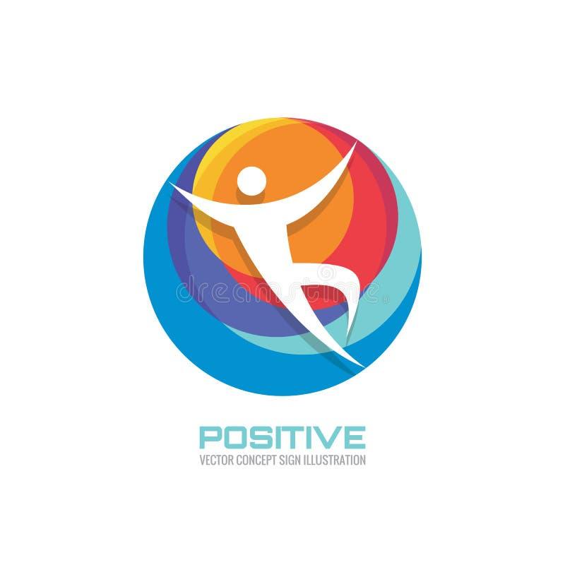 Caráter humano no círculo colorido - sinal criativo do molde do logotipo para o clube de esporte, o centro de saúde, o festival d ilustração stock