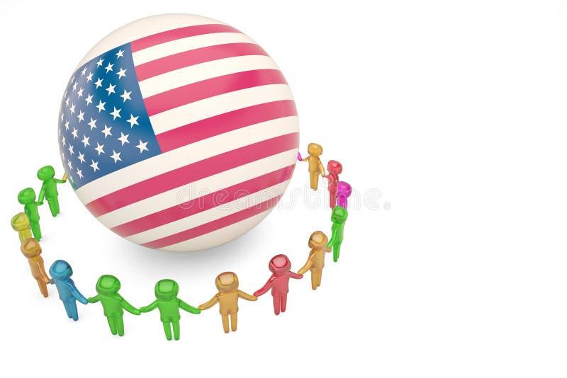 Caráter humano que guarda as mãos em torno do illu do globo 3D da bandeira americana ilustração stock