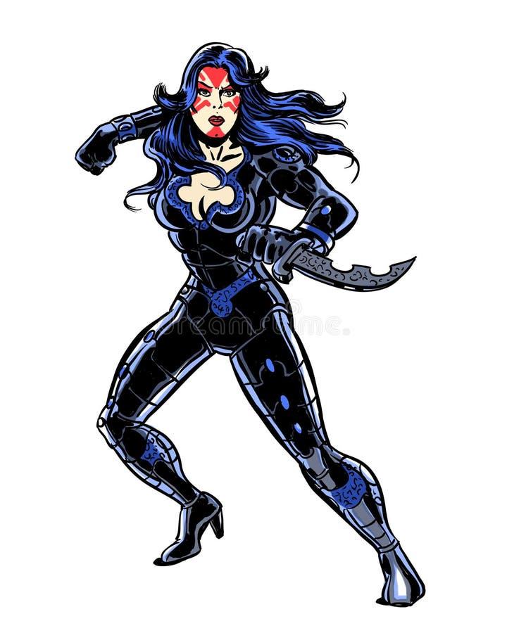 Caráter ilustrado banda desenhada da mulher do super-herói da ação ilustração stock