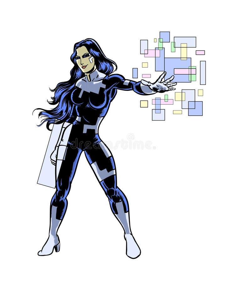 Caráter ilustrado banda desenhada da mulher do super-herói da tecnologia ilustração royalty free