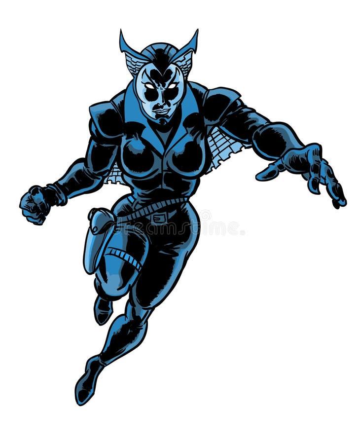 Caráter ilustrado do super-herói da mulher banda desenhada escura ilustração royalty free