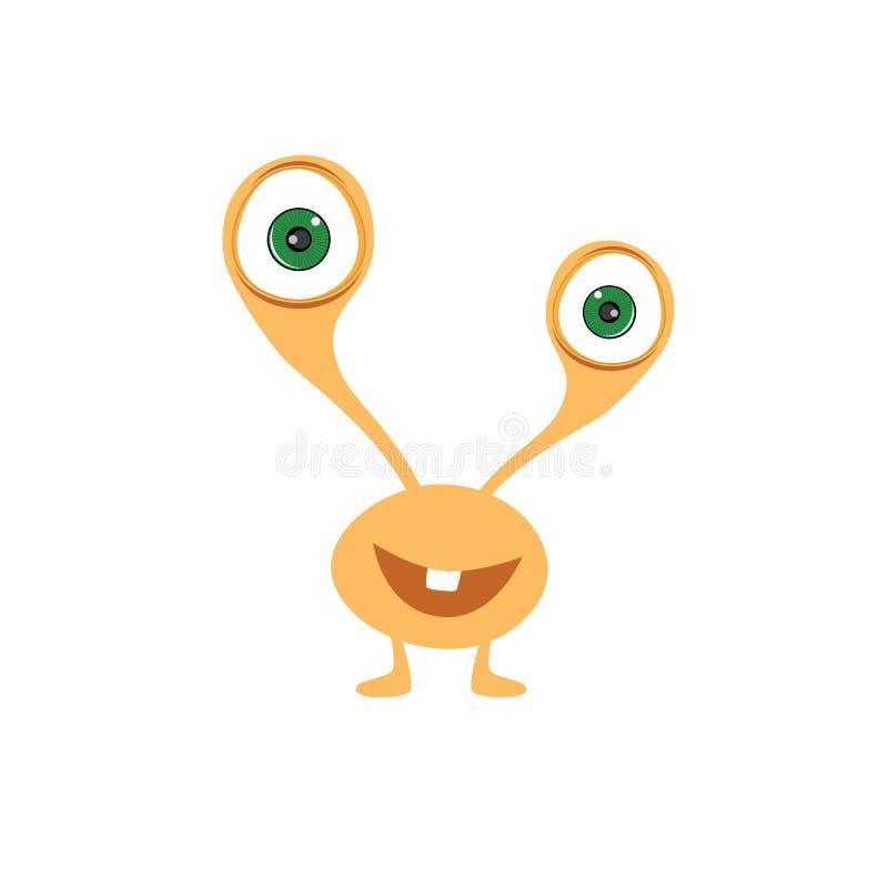 caráter imaginário dos desenhos animados assustadores adoráveis bonitos do monstro ilustração stock