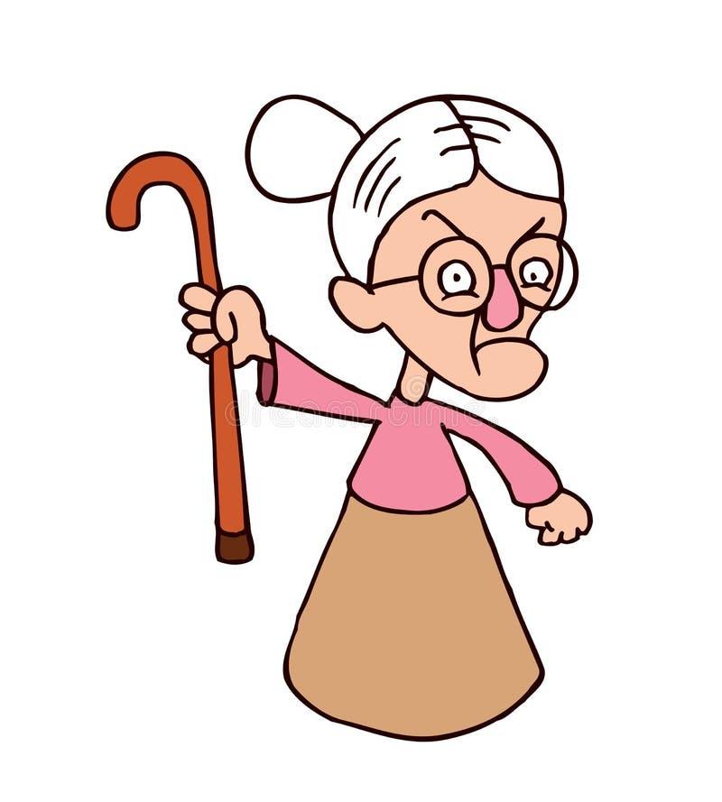 Caráter irritado da avó ilustração do vetor