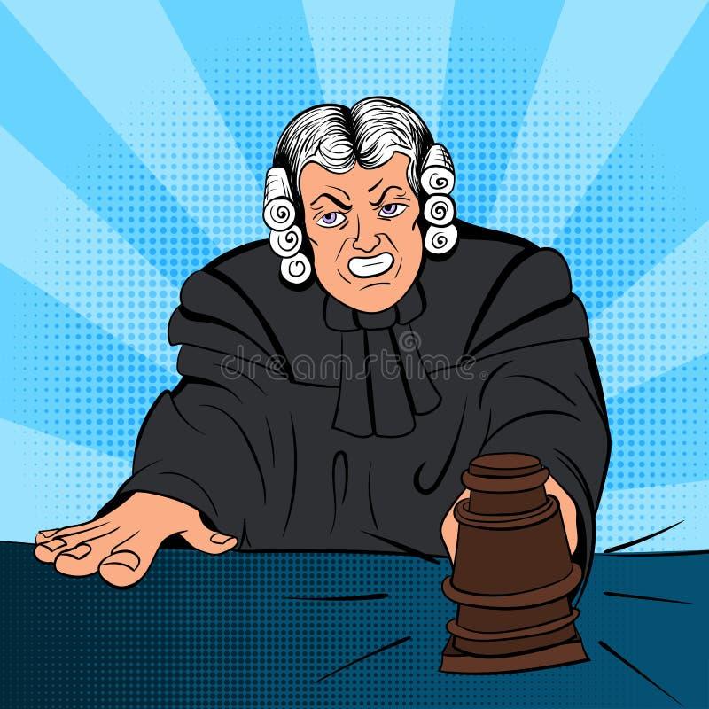Caráter irritado da banda desenhada do juiz ilustração royalty free