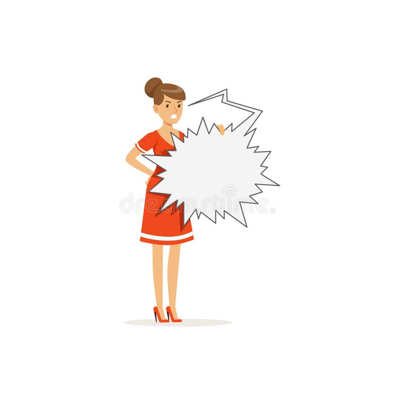 Caráter irritado da mulher que está com ilustração de estouro vazia do vetor da bolha do discurso ilustração do vetor
