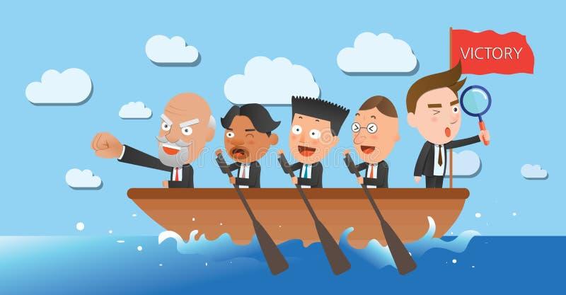 Caráter liso do conceito do enfileiramento da equipe do corporaçõ de negócio ilustração do vetor