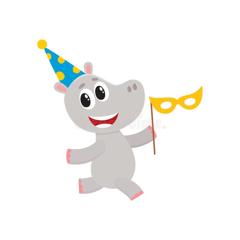 Caráter liso do hipopótamo do vetor que tem o corredor do divertimento ilustração royalty free