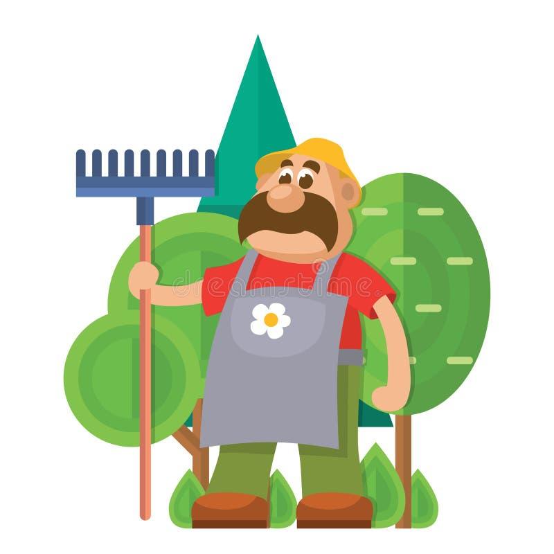 Caráter liso do jardineiro do vetor do equipamento de jardim com a agricultura da ilustração do ancinho que cultiva o homem com f ilustração royalty free