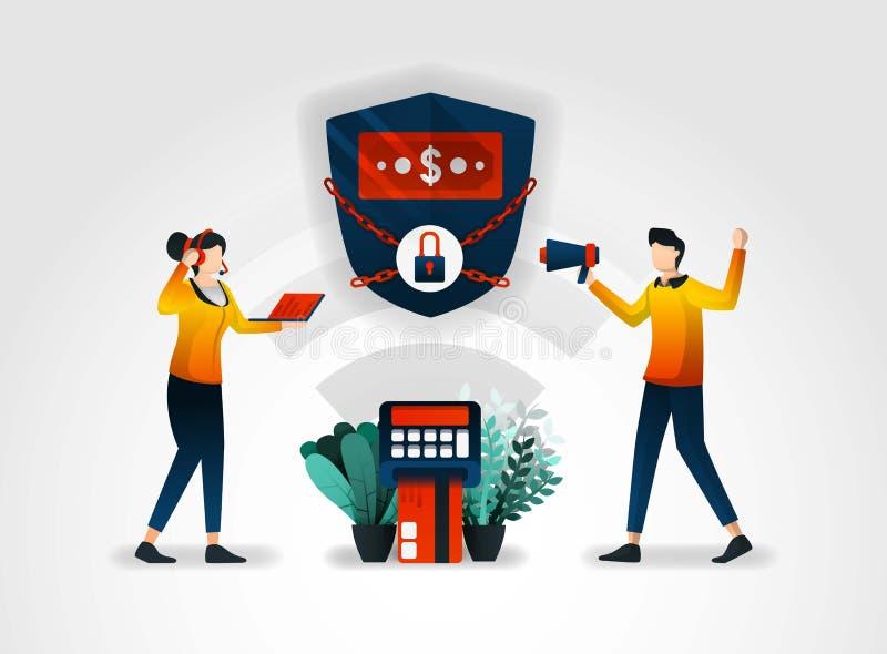caráter liso A operação bancária garante a segurança de dados financeiros do cliente o setor financeiro igualmente trabalha com c ilustração do vetor