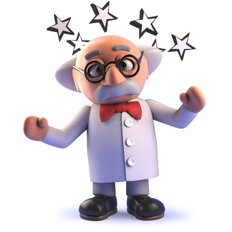 Caráter louco do cientista dos desenhos animados 3d chocados com as estrelas em volta de sua cabeça ilustração stock