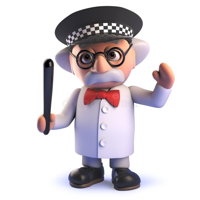 Caráter louco do cientista dos desenhos animados 3d que veste um capacete da polícia e que guarda uma moca ilustração royalty free