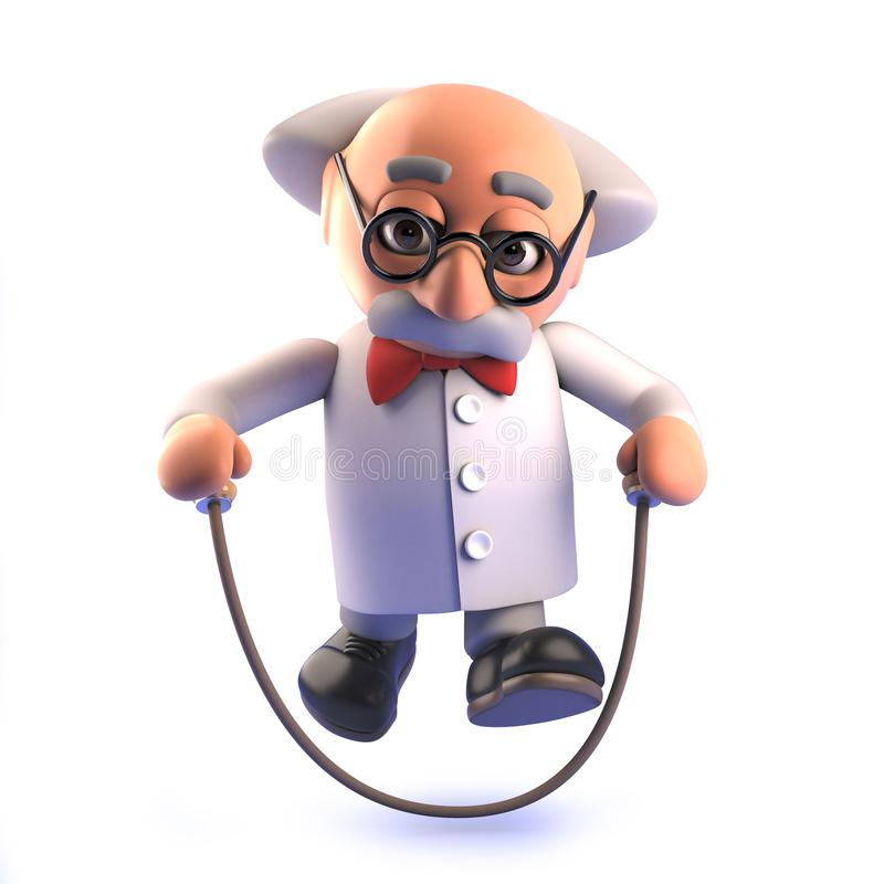 Caráter louco do cientista em 3d usando uma corda de salto ilustração stock