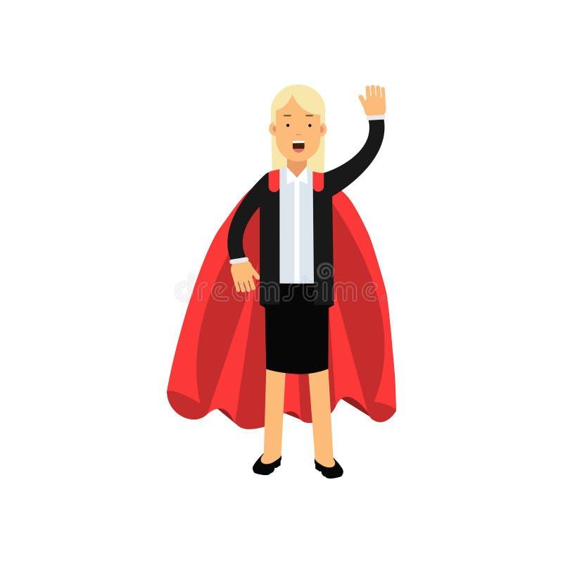 Caráter louro da mulher dos desenhos animados no terno de saia preto com o envoltório vermelho do super-herói Senhora alegre do n ilustração royalty free