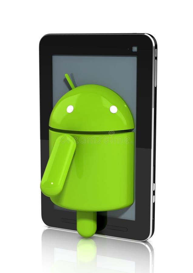 Caráter lustroso do Android que escala fora de uma tabuleta ilustração stock