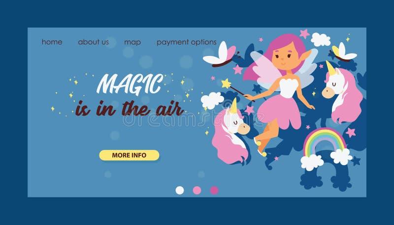 Caráter mágico de aterrissagem do país das fadas da página da Web feericamente do vetor da menina e unicórnio bonito dos desenhos ilustração stock