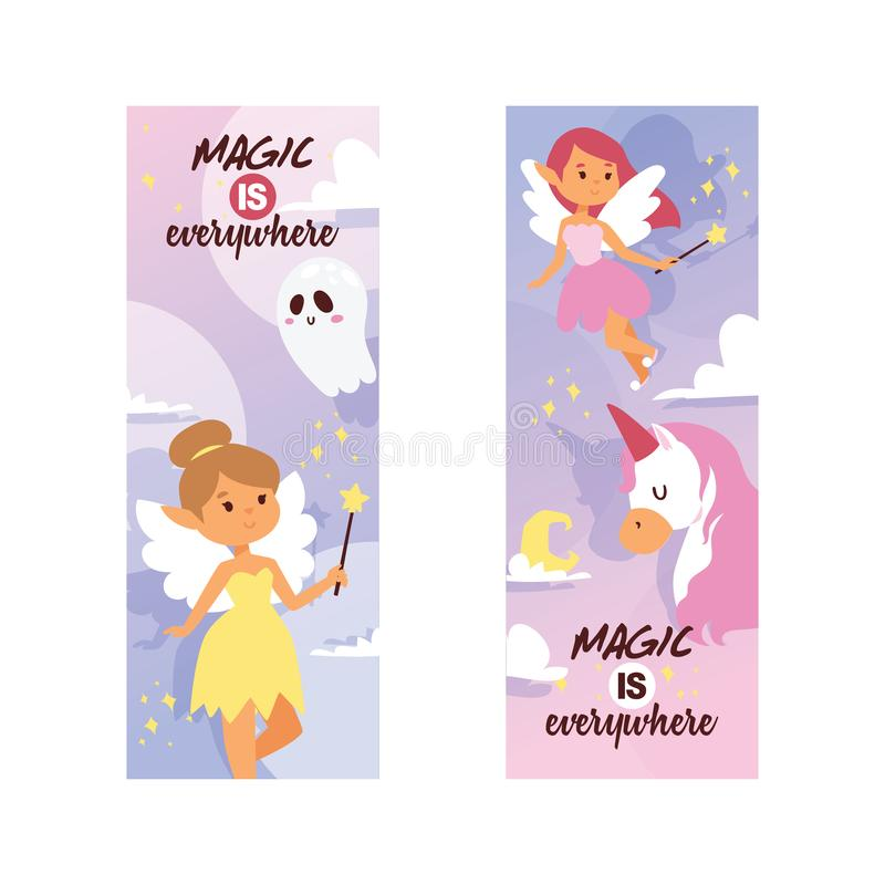 Caráter mágico do país das fadas do vetor feericamente da menina e unicórnio bonito dos desenhos animados da princesa da fantasia ilustração do vetor